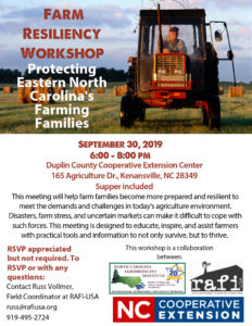 Cover photo for Farm Resiliency Workshop for Eastern NC Farm Families