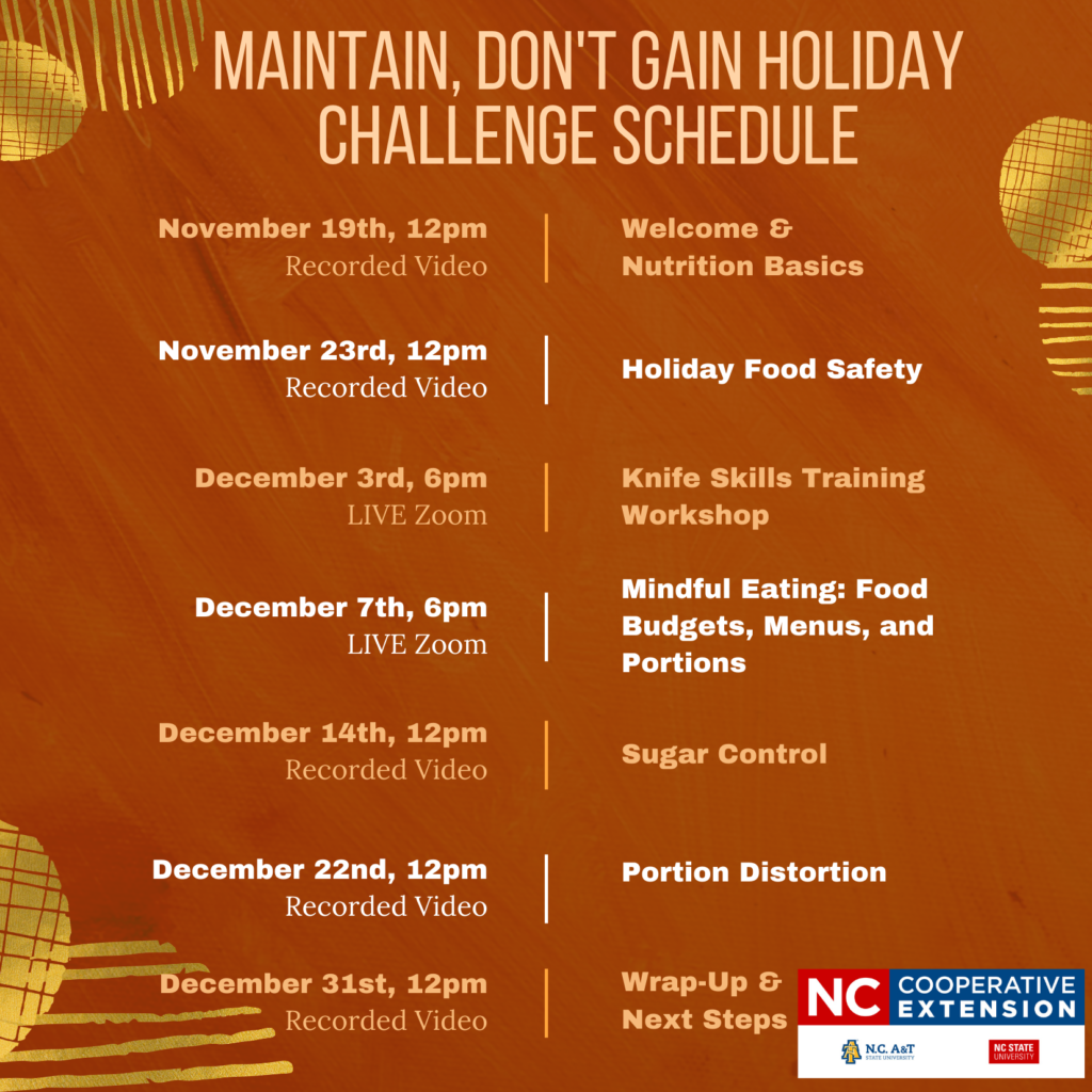 Maintain, don't Gain Holiday Challenge Schedule