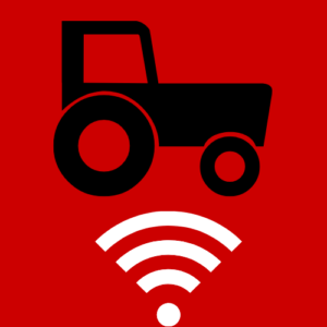 Icon showing tractor above wifi signal logo- Broadband in Agriculture